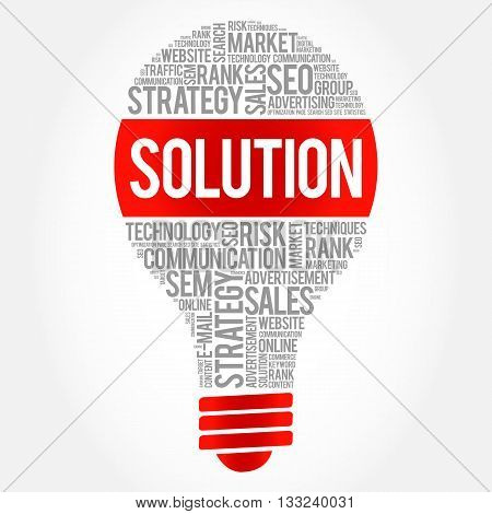 SOLUTION bulb word cloud business concept, presentation background