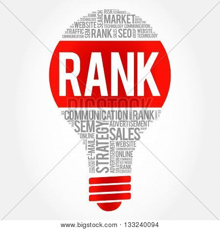 RANK bulb word cloud business concept, presentation background