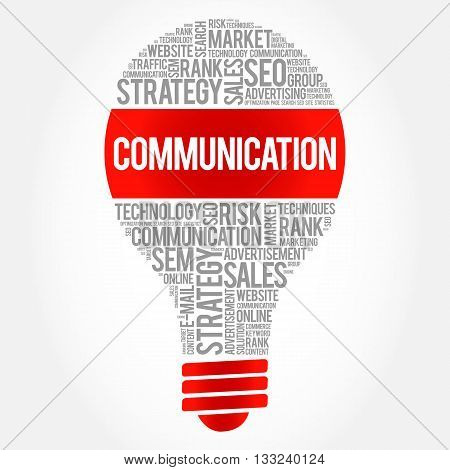 COMMUNICATION bulb word cloud business concept, presentation background