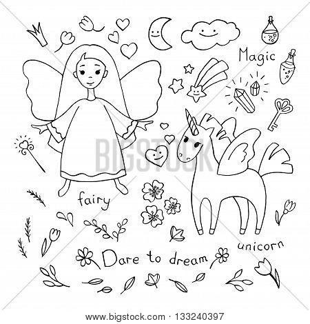 Magic theme doodle set. Various fairytale characters and stuff. Vector sketches isolated over white background.