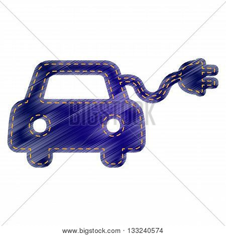 Eco electric car sign. Jeans style icon on white background.