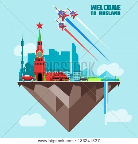 Russia country infographic map in 3d with country shape flying in the sky with clouds flying jets drawing the white red and blue colors. Digital vector image