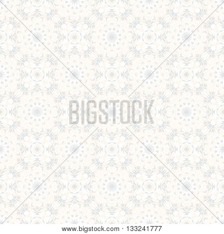 Vector art deco flourish pattern with abstract flowers in 1920s fashion style. Simple and elegant print with chic decor and floral motif and circles for wedding invitation background in silver white