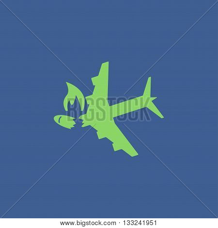 Airplane Crash vector icon. Style is flat symbol