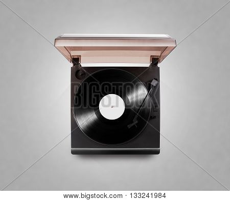 Gramophone vinyl player playing record, top view, isolated, clipping path. Talking machine play blank sound plate mock up. Retro phonograph design from above. Spinning vinyl record template audio disc