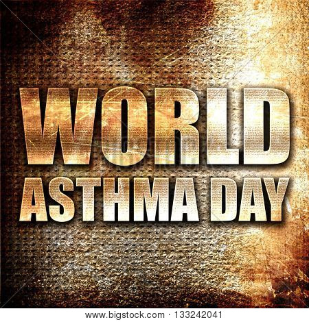 world asthma day, 3D rendering, metal text on rust background