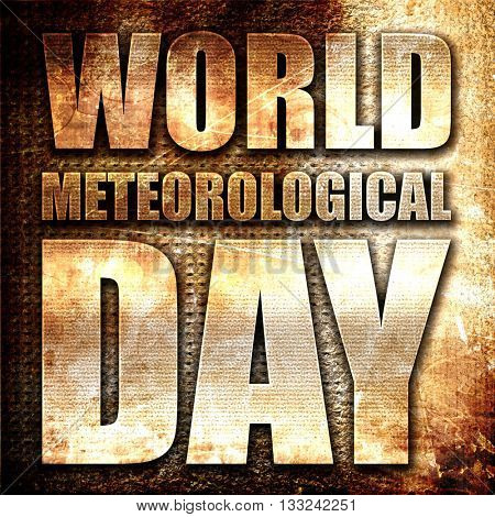 world meteorological day, 3D rendering, metal text on rust backg