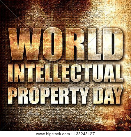 world intellectual property day, 3D rendering, metal text on rus