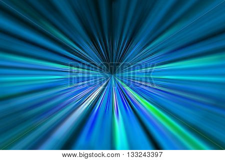 Dynamic blue and green converging lines background with selective focus