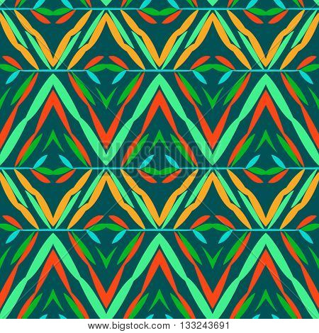 Vector seamless geometric pattern with ethnic and tribal motif. Bright bold print with chevrons, zig zag, line and stripe in native embroidery style. Hand drawn colorful red, green, orange background