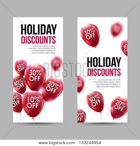 Trendy Holiday Sale Discount Banners set with Red Baloons and discounts.