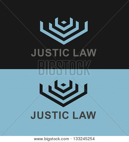 Business Icon - Vector logo concept justic law. Emblem for criminal process, scales of justice, courthouse building, lawyer and law