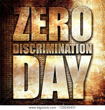 zero discrimination day, 3D rendering, metal text on rust backgr