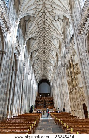 WINCHESTER, UK - FEBRUARY 07: The nave looking east towards the choir inside Winchester Cathedral. February 07, 2016 in Winchester, UK
