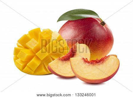 Mango whole cut peach slices 2 isolated on white background as package design element