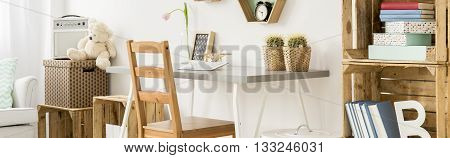 Very Bright And Well-ogranised Work Space For A Teenager