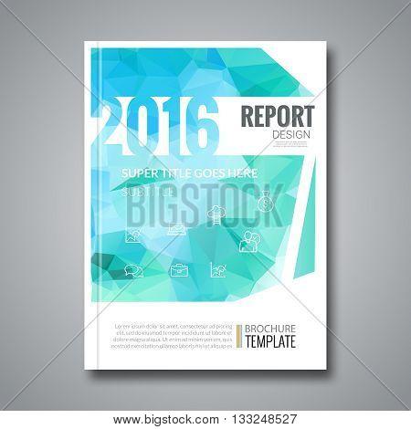 Business Design Cover Magazine info-graphic background, Aqua Marine triangular Annual report 2016 Design template, vector illustration