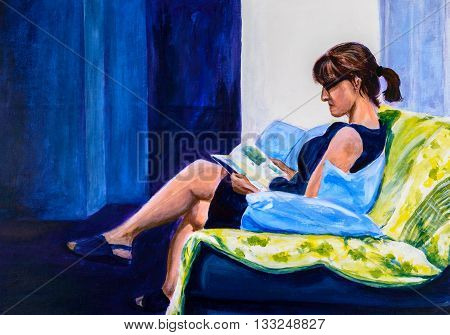 Original acrylic painting of a woman sitting in a chair reading. Predominantly blue.