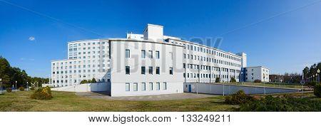 GOMEL BELARUS - APRIL 3 2016: Republican Scientific and Practical Center of Radiation Medicine and Human Ecology Gomel Belarus