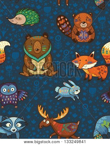 Woodland friends forest animals in dark blue background. Vector pattern of cute wild animals in the forest - fox, beaver, raccoon, bear, hedgehog, deer and owl. Vector illustration