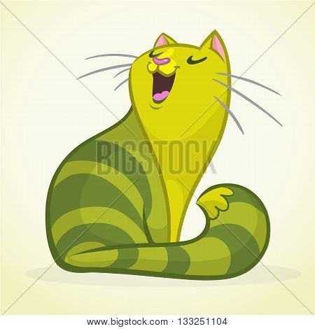Vector illustration of a green and fat singing cat. Fat striped cat cartoon