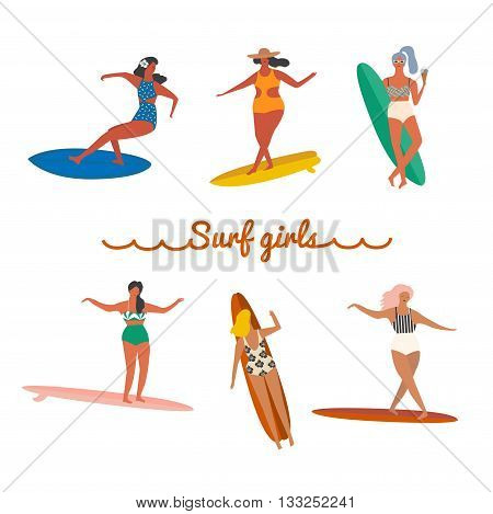 Flat illustration with surfer girls on a long board riding a wave. Beach lifestyle poster in retro style. Art deco collection.