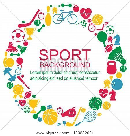 Circle of sports icons. Sport concept background. Icons sports games. Vector