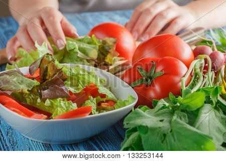 Female Hands Adding Lettuce Leaves Into Bowl With Salad, Close-up