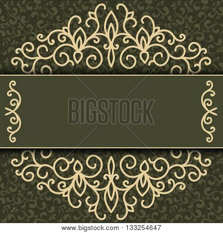 Vintage background antique victorian gold ornament baroque frame beautiful old paper card ornate cover page label; floral luxury ornamental pattern template for design