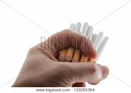 Fifteen cigarettes in a hand of the person are ready to organism poisoning.