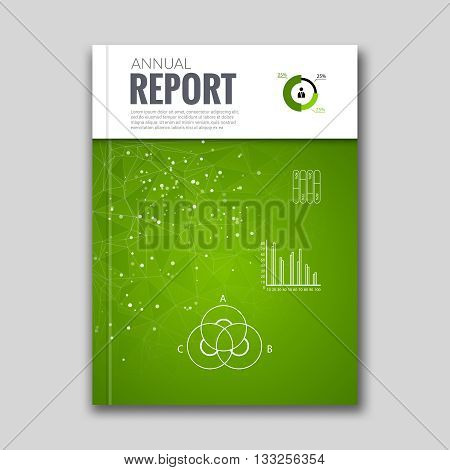 Cover Report Business Colorful Green Triangle Polygonal Geometric pattern Design Background with Diagram, graph, cover magazine, Brochure Book Cover Template, vector illustration.