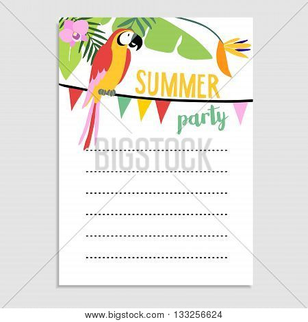 Summer greeting card invitation. Parrot bird palm leaves strelitzia flowers. Party flags decoration.Web banner background. Stock vector illustration. Flat jungle design.