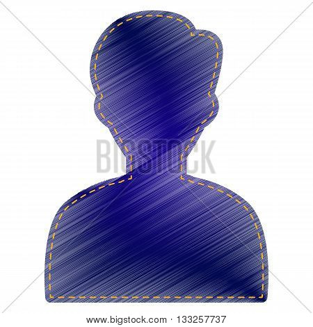 User avatar illustration. Anonymous sign. Jeans style icon on white background.