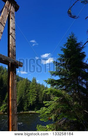 A rustic beam from a wooden bridge and tall pine tree frame a scene of the Lochsa River in a northern Idaho wilderness area.