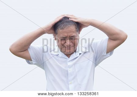 asian old man have headache hold his head action on white