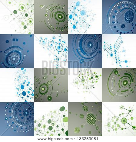 Set of modular Bauhaus 3d vector backdrops created from geometric figures like circles and lines. Best for use as advertising poster or banner design. Perspective abstract mechanical schemes.