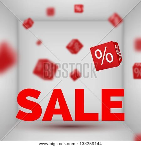 Opened Box room with SALE text and red 3d discount boxes.