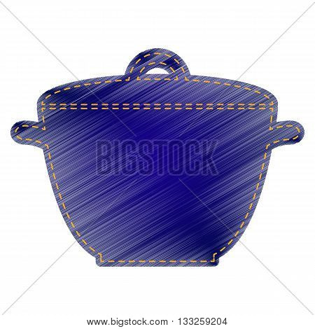 Saucepan simple sign. Jeans style icon on white background.