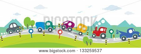 Children vector illustration of small funny cars going near the mountains. Horizontal seamless background or pattern.