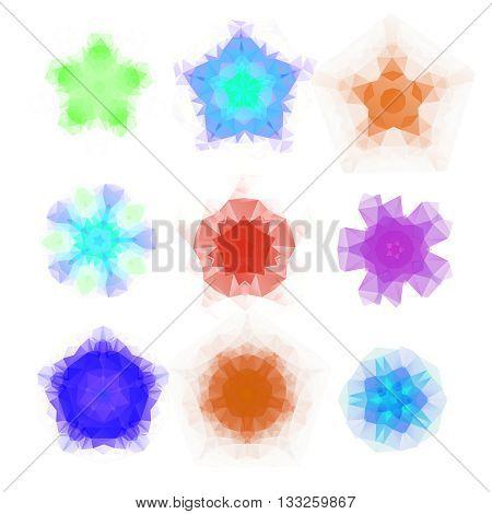 Set of vector triangle round patterns. Kaleidoscope flower mandala. Modern design templates, vector illustration mosaic.