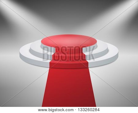 Illuminated with spotlight stage podium for award ceremony. Vector illustration