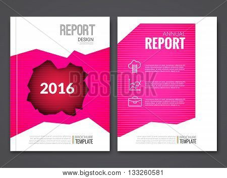 Cover Report Business Pink Red Hole Geometric pattern Design Background, Magazine Cover, Brochure Book Cover Template with icons and infographics, vector illustration.