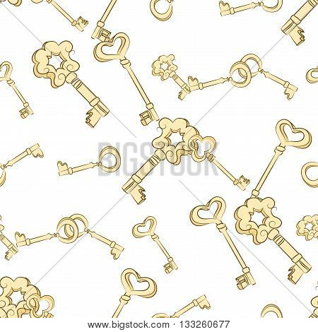 Seamless keys pattern. Gold vintage keys on white background. Digital paper