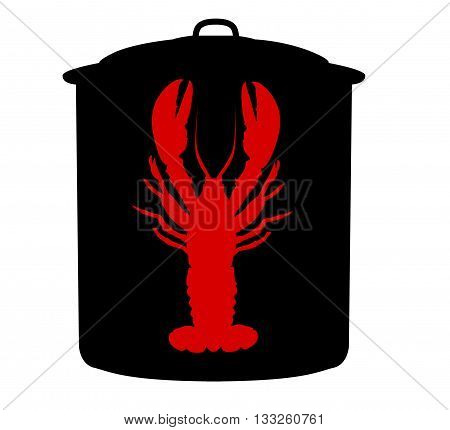 Black lobster pot with lid and red lobster illustration