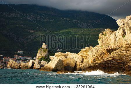 Rainy skies over St. Stephen. Adriatic Coast Montenegro