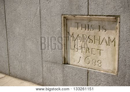 London United Kingdom - June 5th 2016: Sign for Marsham Stret City of Westminster London. This sign made in 1688 is located at 2 Marsham Street outside the Home Office.