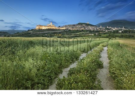 An image of the cityscape of Assisi in Italy Umbira at late evening