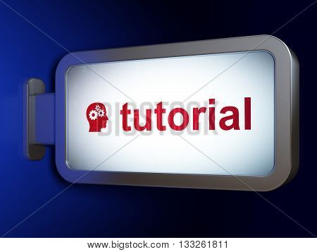 Learning concept: Tutorial and Head With Gears on advertising billboard background, 3D rendering