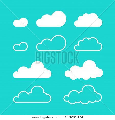 Clouds vector isolated on blue sky background, flat cartoon cloud set, collection of line art outline cloud shapes