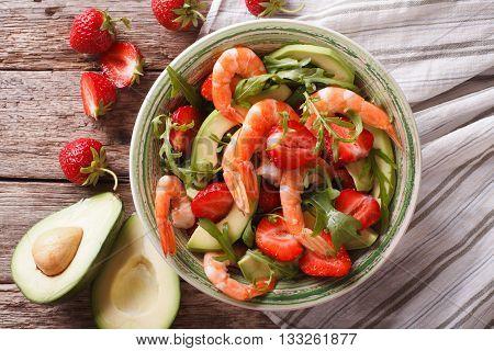 Tasty Food: Salad With Shrimp, Avocado And Strawberry Closeup. Horizontal Top View